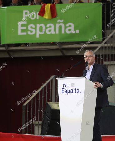 Founder of right-wing party Vox Jose Antonio Ortega Lara, delivers his speech during the presentation of Vox candidates for the general elections at La Cubierta de Leganes bullring in the municipality of Leganes, in Madrid, Spain, 06 April 2019. Spain will hold anticipated general elections on the upcoming 28 April.