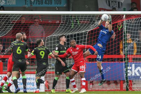 Forest Green Rovers goalkeeper Lewis Ward(34) catches a cross during the EFL Sky Bet League 2 match between Crawley Town and Forest Green Rovers at The People's Pension Stadium, Crawley