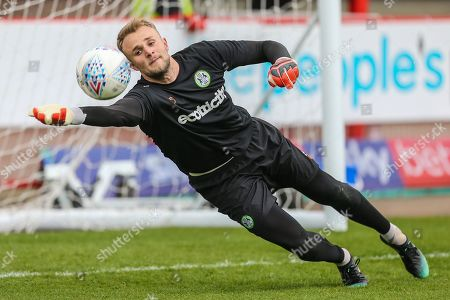Forest Green Rovers goalkeeper Lewis Ward(34) warming up during the EFL Sky Bet League 2 match between Crawley Town and Forest Green Rovers at The People's Pension Stadium, Crawley