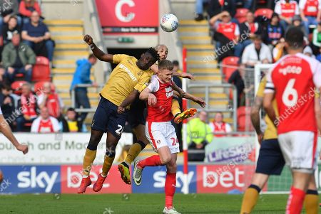 Nottingham Forest midfielder Pele (28) , Rotherham United forward Michael Smith (24) and Nottingham Forest defender Yohan Benalouane (29) during the EFL Sky Bet Championship match between Rotherham United and Nottingham Forest at the AESSEAL New York Stadium, Rotherham
