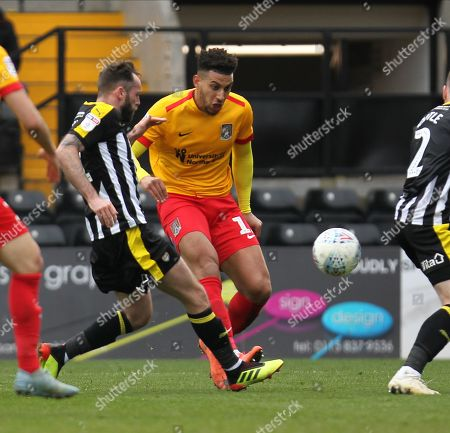 Daniel Powell (11) shoots on goal during the EFL Sky Bet League 2 match between Notts County and Northampton Town at Meadow Lane, Nottingham