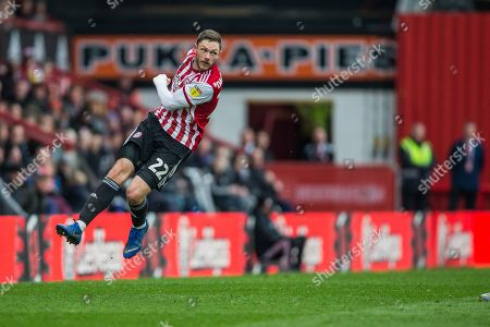 Henrik Dalsgaard (Brentford) attempt at goal during the EFL Sky Bet Championship match between Brentford and Derby County at Griffin Park, London