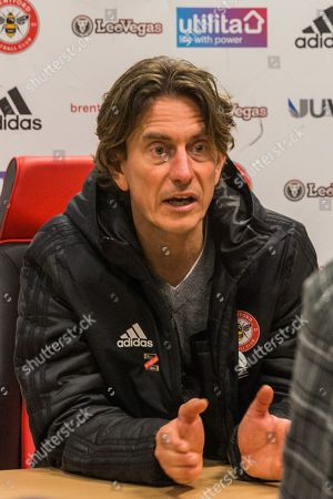 Thomas Frank, Head Coach of Brentford FC at the press conference following the EFL Sky Bet Championship match between Brentford and Derby County at Griffin Park, London