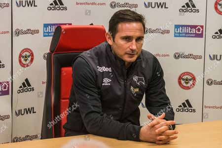 Stock Picture of Frank Lampard, Manager of Derby County FC at the press conference following the EFL Sky Bet Championship match between Brentford and Derby County at Griffin Park, London