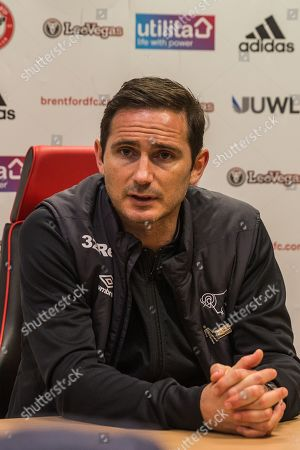 Frank Lampard, Manager of Derby County FC at the press conference following the EFL Sky Bet Championship match between Brentford and Derby County at Griffin Park, London