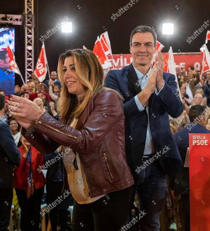 Spanish Prime Minister and Secretary-General of Spanish Socialist Workers Party (PSOE), Pedro Sanchez (R), and PSOE's leader in Andalusia, Susana Diaz, greet the public as they arrive for a political rally of PSOE held in Seville, in the autonomous community of Andalusia, southern Spain, 06 April 2019. Spain will hold anticipated general elections on 28 April 2019.