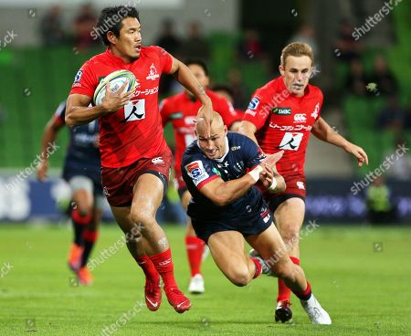 Stock Picture of Ryohei Yamanaka (L) of the Sunwolves in action against Bill Meakes (C) of the Rebels during the Super Rugby match between the Melbourne Rebels and the Sunwolves in Melbourne, Australia, 06 April 2019.