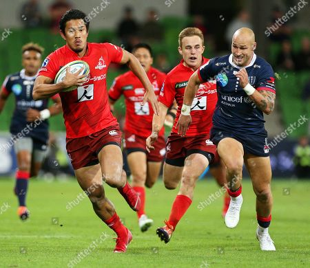 Ryohei Yamanaka (L) of the Sunwolves in action against Bill Meakes (R) of the Rebels during the Super Rugby match between the Melbourne Rebels and the Sunwolves in Melbourne, Australia, 06 April 2019.