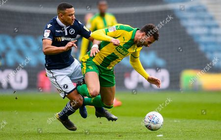 Hal Robson-Kanu of West Bromwich Albion James Meredith of Millwall and