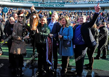 AINTREE. The Randox Health Grand National. TIGER ROLL winning connections after win (L-R) Karen Morgan, Eddie O'Leary, Anita O'Leary, Louise Magee, Michael O'Leary, Wendy O'Leary and Gordon Elliott.