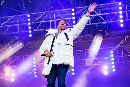 Stock Picture of DJ Antoine performs during the 22nd Snowpenair music festival on the Kleine Scheidegg in the Bernese Oberland, Switzerland, 06 April 2019. The Snowpenair is a music festival who take place at 2'061 meters above sea level, and the arena is able to accommodate 8â??500 attendees.