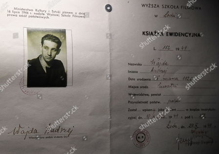 A student book of records with Andrzej Wajda's picture from the National Film School in Lodz on display at the National Museum in Krakow, Poland, 05 April 2019 (issued 06 April 2019). The exhibition presents creative achievements of one of the most famous Polish film directors Andrzej Wajda.