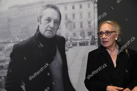 Polish actress Maja Komorowska stands in front of Andrzej Wajda's portrait as she attends the 'Wajda' exhibition at the National Museum in Krakow, Poland, 05 April 2019 (issued 06 April 2019). The exhibition presents creative achievements of one of the most famous Polish film directors Andrzej Wajda.