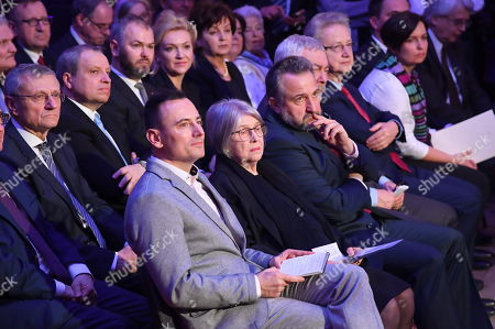 Director, production designer Krystyna Zachwatowicz-Wajda (2-R) and curator of the exhibition Rafal Syska (L) attend the 'Wajda' exhibition at the National Museum in Krakow, Poland, 05 April 2019 (issued 06 April 2019). The exhibition presents creative achievements of one of the most famous Polish film directors Andrzej Wajda.