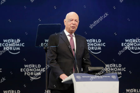 Stock Photo of Klaus Schwab Founder and Executive Chairman of the World Economic Forum speaks during the opening of the 17th World Economic Forum on the Middle East and North Africa (WEF), at the Convention Center, Dead Sea, some 50 km southwest of Amman, Jordan, 06 April 2019. The WEF state that the 17th World Economic Forum on the Middle East and North Africa is taking place at the Dead Sea in Jordan on 06 - 07 April, bringing together more than 1,000 leaders of government, business, civil society, faith and academia.