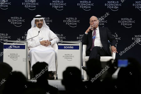 Saudi Minister of Energy, Industry and Mineral Resources Khaled Al-Falih (L) and Founder and Executive Chairman of the World Economic Forum Klaus Schwab during a conference at the 17th World Economic Forum on the Middle East and North Africa (WEF), at the Jordan Center, Dead Sea, some 50 km southwest of Amman, Jordan, 06 April 2019. The WEF state that the 17th World Economic Forum on the Middle East and North Africa is taking place at the Dead Sea in Jordan on 06 - 07 April, bringing together more than 1,000 leaders of government, business, civil society, faith and academia.
