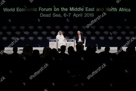 Stock Picture of Saudi Minister of Energy, Industry and Mineral Resources Khaled Al-Falih (L) and Founder and Executive Chairman of the World Economic Forum Klaus Schwab during a conference at the 17th World Economic Forum on the Middle East and North Africa (WEF), at the Jordan Center, Dead Sea, some 50 km southwest of Amman, Jordan, 06 April 2019. The WEF state that the 17th World Economic Forum on the Middle East and North Africa is taking place at the Dead Sea in Jordan on 06 - 07 April, bringing together more than 1,000 leaders of government, business, civil society, faith and academia.