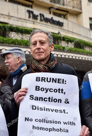Peter Tatchell. LGBT protest outside the Dorchester Hotel in London against the Sultan of Brunei.