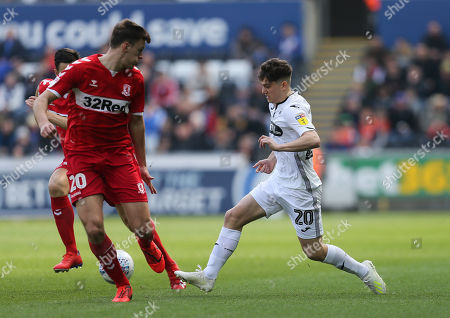 Stock Picture of Daniel James of Swansea City takes on Dael Fry of Middlesbrough