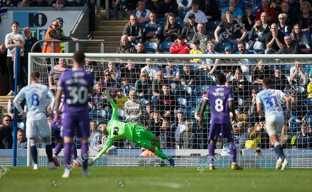 Stock Picture of David Raya of Blackburn Rovers (C) saves a penalty from Bojan Krkic of Stoke City