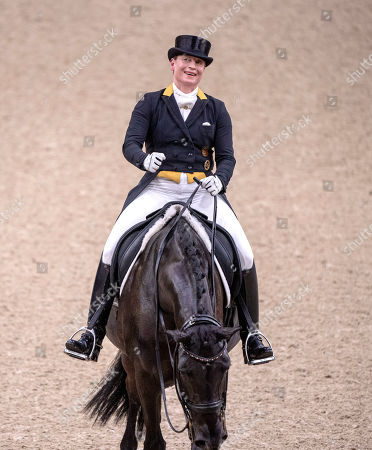 The winner Germany's Isabell Werth celebrates during the FEI dressage World Cup Final - Grand Prix Freestyle at Gothenburg Horse Show in the Scandinavium Arena in Gothenburg, Sweden, 06 April 2019.