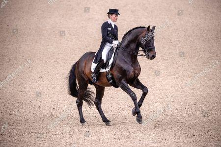 Third placed Helen Langehanenberg of Germany rides Damsey FRH during the FEI dressage World Cup Final - Grand Prix Freestyle at Gothenburg Horse Show in the Scandinavium Arena in Gothenburg, Sweden, 06 April 2019.