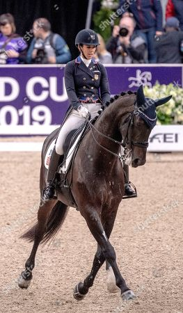 Kasey Perry-Glass of the US rides Goerklintgaards Dublet during the FEI dressage World Cup Final - Grand Prix Freestyle at Gothenburg Horse Show in the Scandinavium Arena in Gothenburg, Sweden, 06 April 2019.