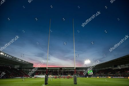 Scarlets vs Edinburgh. A general view of Parc y Scarlets