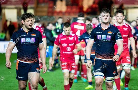 Scarlets vs Edinburgh. Edinburgh's Ross Ford leaves the pitch