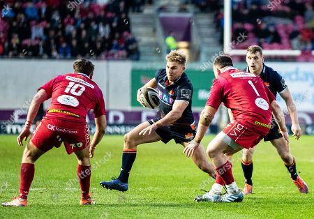 Scarlets vs Edinburgh. Edinburgh's Jaco van der Walt