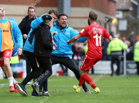 Stock Picture of O's sub Matt Hrrold scores a last min equaliser  and O's asst DAnny Webb celebrates with James Dayton during Leyton Orient vs FC Halifax Town, Vanarama National League Football at The Breyer Group Stadium on 6th April 2019