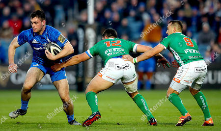 Leinster vs Benetton. Leinster's Conor O'Brien with Luca Morisi and Dewaldt Duvenage of Benetton
