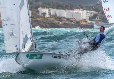 British Hannah Mills (L) and Eilidh Mcintyre (R) in action during the 470 race of the 50th Princess Sofia Iberostar Trophy held at Palma de Mallorca bay, Balearics, Spain, 06 April 2019.