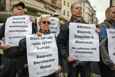 Peter Tatchell. Protest outside the Dorchester Hotel, Park Lane. The group are protesting that the Sultan of Brunei is introducing stoning and death by amputation as a punishment for gay sex and adultery. The owners of the hotel are the Brunei Investment Group.