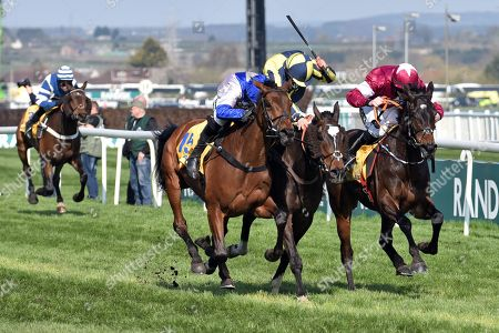 , Aintree, GB, If the cap fits (second from right) with Sean Bowen up wins the Ryanair Stayers Hurdle at Aintree racecourse.