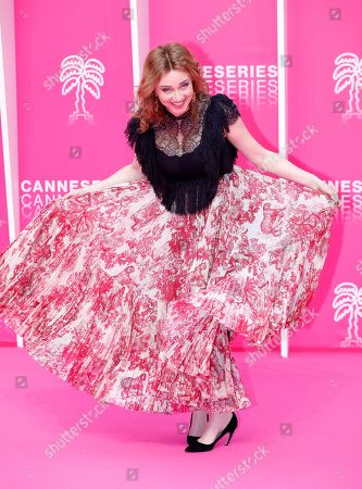 Marine Delterme poses on the pink carpet during the Cannes Series Festival in Cannes, France, 06 April 2019. The event will take place from 05 to 10 April.
