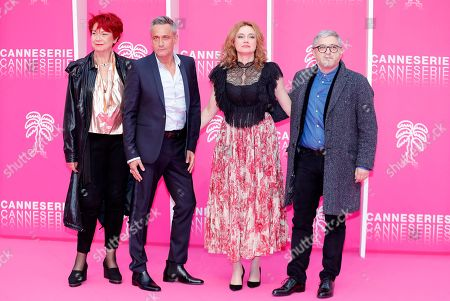 Cast members of 'Alice Nevers', Pascale Breugnot (L), Jean-Michel Tinivelli (2-L), Marine Delterme (2-R) and Vincent Mouluquet (R) pose on the pink carpet during the Cannes Series Festival in Cannes, France, 06 April 2019. The event will take place from 05 to 10 April.