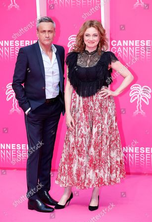 Cast members of 'Alice Nevers', French actors Jean-Michel Tinivelli (L) and Marine Delterme (R) pose on the pink carpet during the Cannes Series Festival in Cannes, France, 06 April 2019. The event will take place from 05 to 10 April.