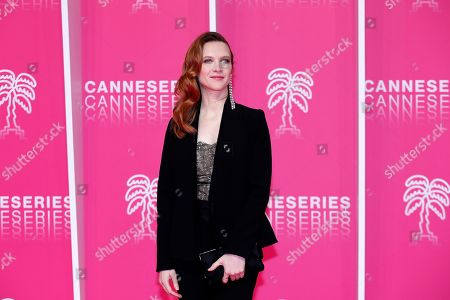 Odile Vuillemin poses on the pink carpet during the Cannes Series Festival in Cannes, 06 April 2019. The event will take place from 05 to 10 April.