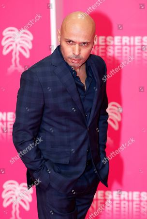Eric Judor poses on the pink carpet during the Cannes Series Festival in Cannes, 06 April 2019. The event will take place from 05 to 10 April.