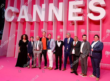 'Magnus' cast, Aneth Amalie Hoff Larsen, Charlie Hutton, Anders Tangen, Pal Ronning, Lars Berge, Tim Ahern, Geir Henning Hopeland, Vidar Magnussen and Kristoffer Olsen pose on the pink carpet during the Cannes Series Festival in Cannes, 06 April 2019. The event will take place from 05 to 10 April.