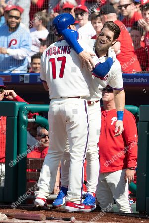 Philadelphia Phillies first baseman Rhys Hoskins (17) celebrates his home run with right fielder Bryce Harper (3) during the MLB game between the Minnesota Twins and Philadelphia Phillies at Citizens Bank Park in Philadelphia, Pennsylvania