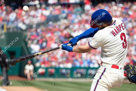 Philadelphia Phillies right fielder Bryce Harper (3) in action during the MLB game between the Minnesota Twins and Philadelphia Phillies at Citizens Bank Park in Philadelphia, Pennsylvania