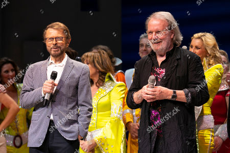 Bjorn Ulvaeus (Music /Producer) and Benny Andersson (Music) during the curtain call