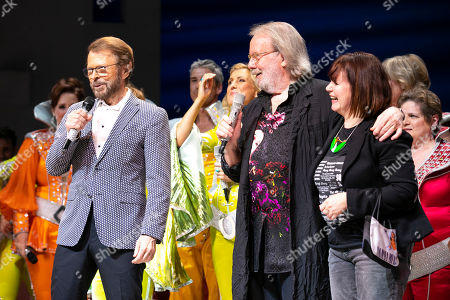 Bjorn Ulvaeus (Music /Producer), Benny Andersson (Music) and Catherine Johnson (Author) during the curtain call