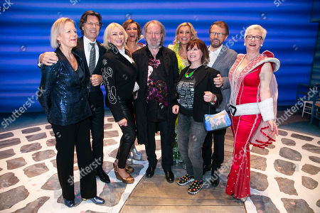 Stock Picture of Phyllida Lloyd (Director), Richard East (Producer), Judy Craymer (Producer), Kate Graham (Tanya), Benny Andersson (Music), Sara Poyzer (Donna Sheridan), Catherine Johnson (Author), Bjorn Ulvaeus (Music /Producer) and Ricky Butt (Rosie) backstage