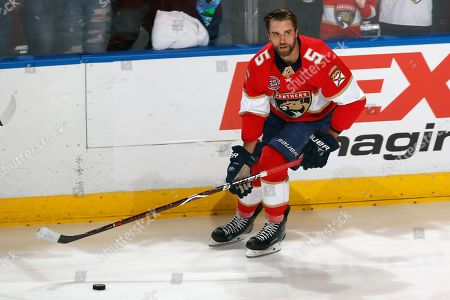 Florida Panthers defenseman Aaron Ekblad (5) skates prior to an NHL hockey game against the New Jersey Devils, in Sunrise, Fla. The Devils defeated the Panthers 4-3 in overtime