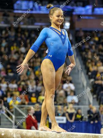 UCLA's Madison Kocian performs on the balance beam during the Finals of the NCAA Gymnastics Ann Arbor Regional at Crisler Center in Ann Arbor, MI