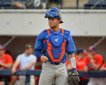 Florida catcher, Brady Smith (9), during the NCAA baseball game between the Florida Gators and the Ole' Miss Rebels at Swayze Field in Oxford, MS. Ole' Miss defeated Florida, 16-4. Kevin Langley/Sports South Media/CSM