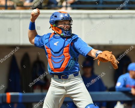 Florida catcher, Brady Smith (9), in action during the NCAA baseball game between the Florida Gators and the Ole' Miss Rebels at Swayze Field in Oxford, MS. Ole' Miss defeated Florida, 16-4. Kevin Langley/Sports South Media/CSM
